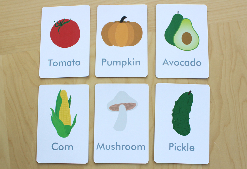 image about Printable Pictures of Vegetables named No cost Printable: Vegetable Flash Playing cards and Matching Playing cards