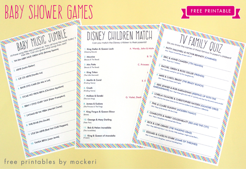 Free Printable: Baby Shower Games