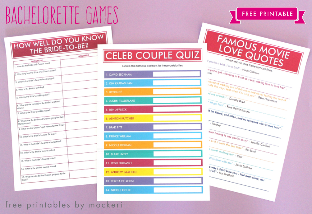 image regarding Printable Bachelorette Games named No cost Printable: Bachelorette Online games