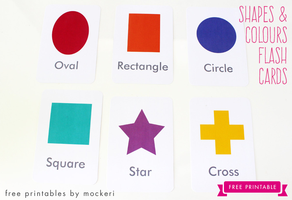 image relating to Printable Shapes named No cost Printable: Designs and Shades Flash Playing cards