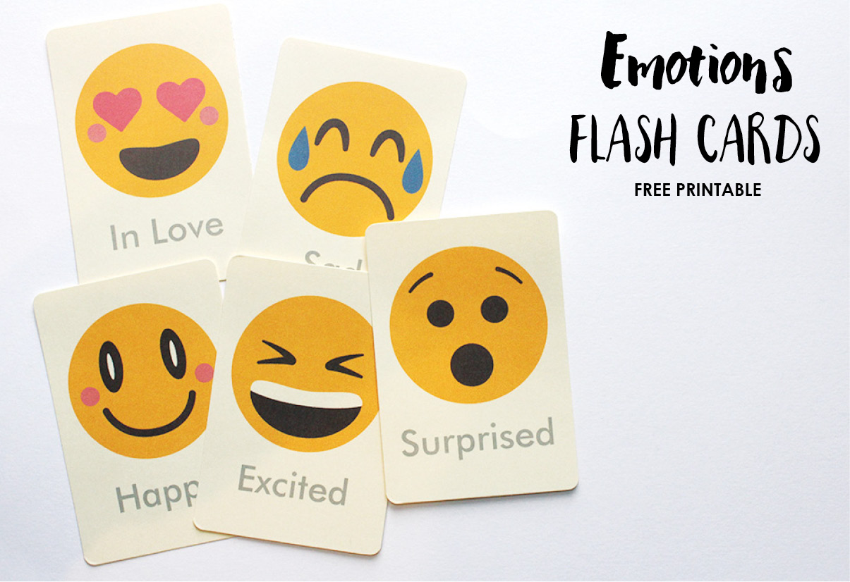 photo about Emoji Feelings Printable named Inner thoughts Flash Playing cards