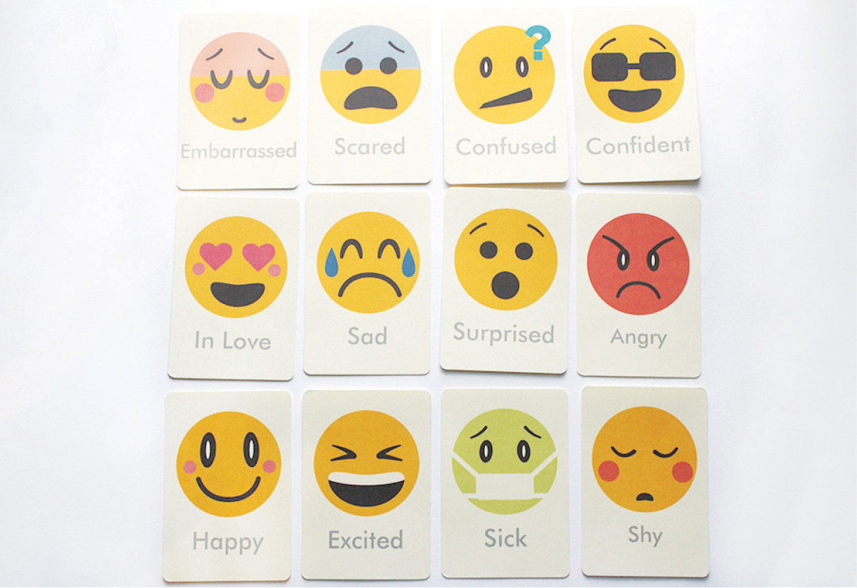 image about Emoji Feelings Printable named Feelings Flash Playing cards