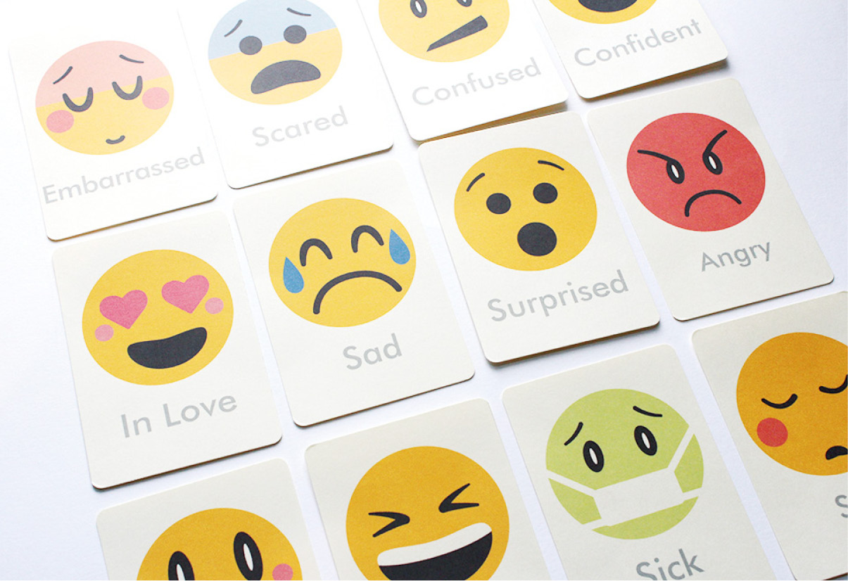 picture about Printable Emoji Stickers called Feelings Flash Playing cards