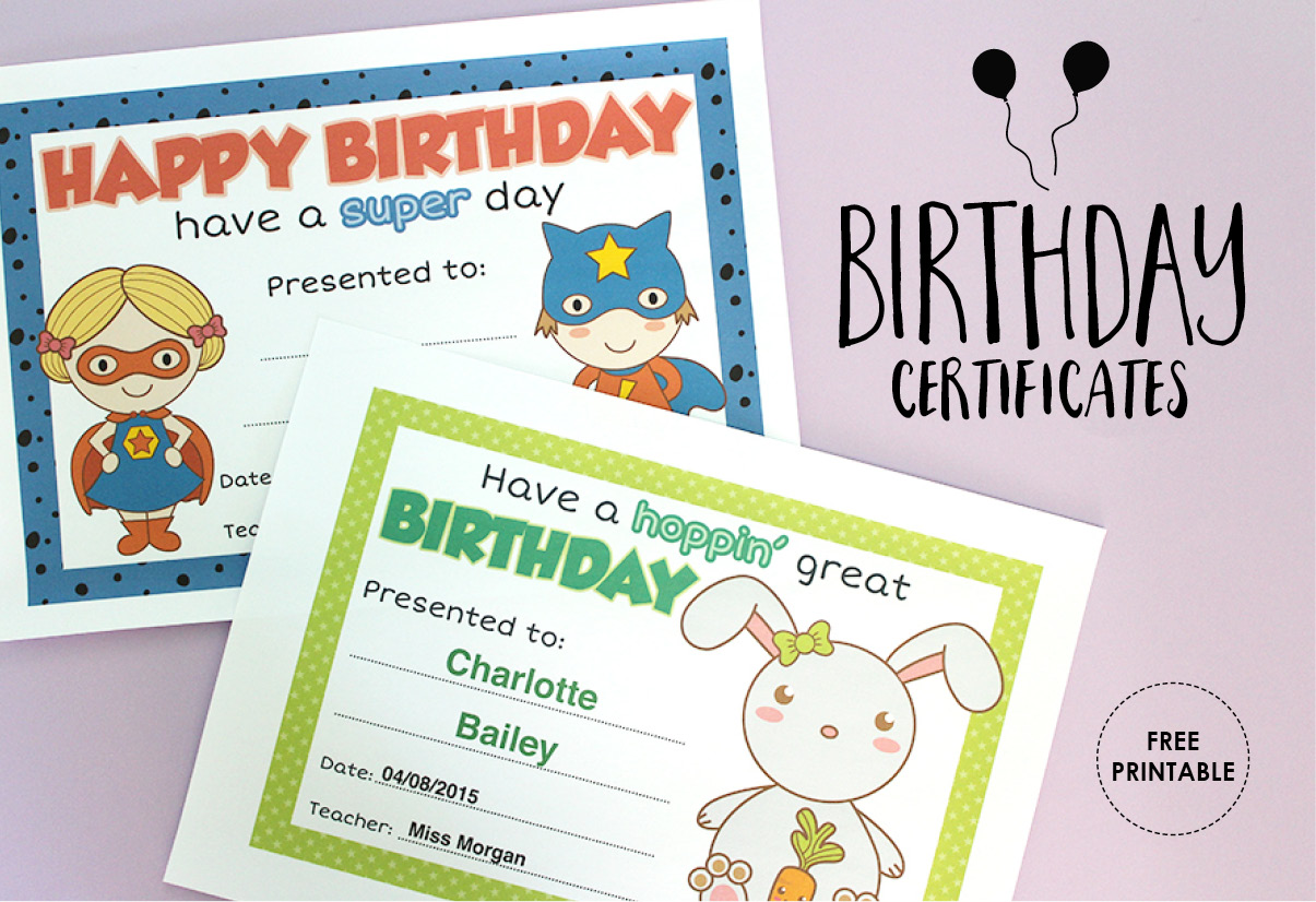 graphic regarding Printable Birthday Certificates called Absolutely free Printable: Birthday Certificates